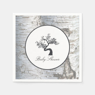 Rustic Silver Birch Tree Baby Shower Disposable Napkins