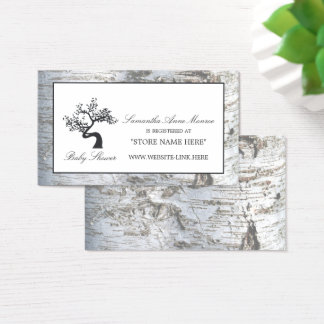 Rustic Silver Birch Tree Baby Shower Gift Registry Business Card