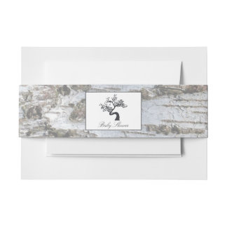 Rustic Silver Birch Tree Baby Shower Invitation Belly Band