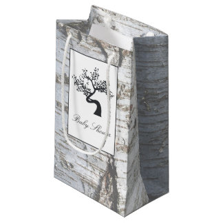 Rustic Silver Birch Tree Baby Shower Small Gift Bag