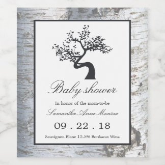 Rustic Silver Birch Tree Baby Shower Wine Label
