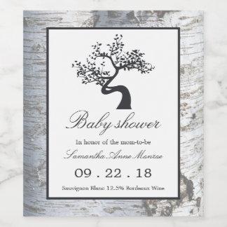 Rustic Silver Birch Tree Baby Shower Wine Label