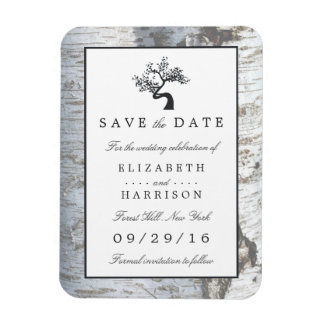 Rustic Silver Birch Tree Save The Date Magnet