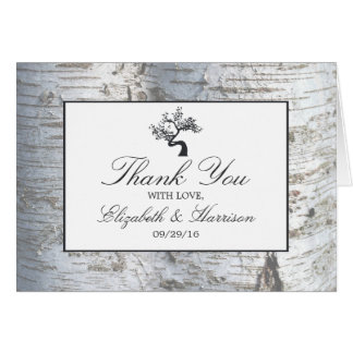 Rustic Silver Birch Tree Wedding Thank You Card