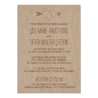 "Rustic Simple Woodgrain Wedding Invitation 5"" X 7"" Invitation Card"