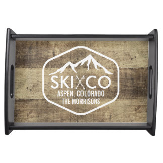 Rustic Ski Lodge Mountain Aspen Colorado Wood Serving Tray