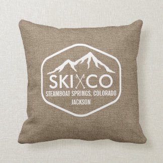 Rustic Ski Mountain Steamboat Colorado Burlap Throw Pillow