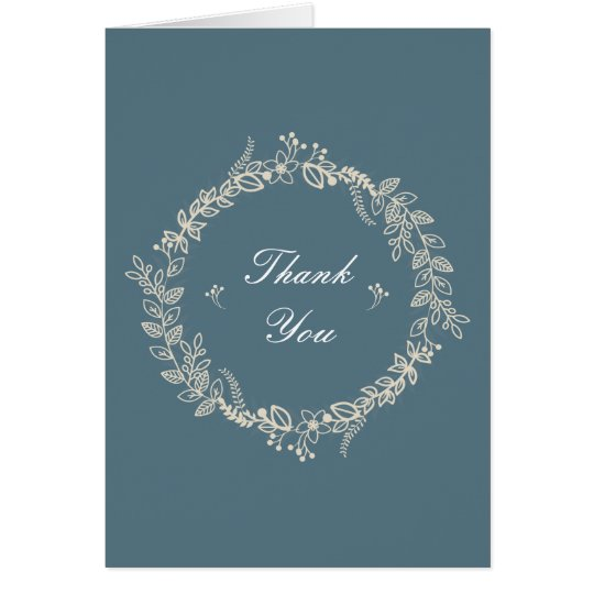 Rustic Slate Blue Outlined Floral Wreath Thank You Card