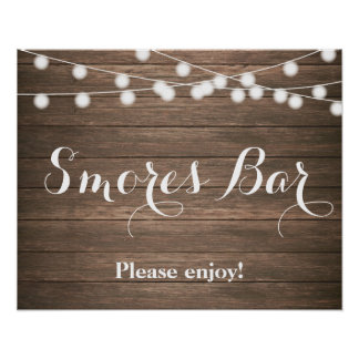 Rustic Smores Bar with String lights Poster
