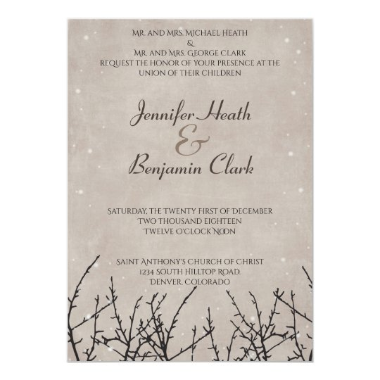 Rustic Snow Branch Wedding Invitation