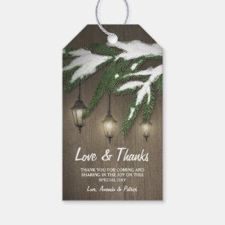 Rustic Snow Evergreen Lantern Wedding Thank You Gift Tags