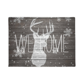 Rustic snow painted deer antlers stripe brown wood doormat
