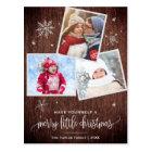 Rustic Snowflake | 3 Photo Christmas Postcard