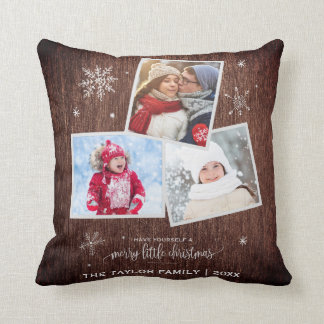 Rustic Snowflake | 3 Photo Christmas Throw Pillow