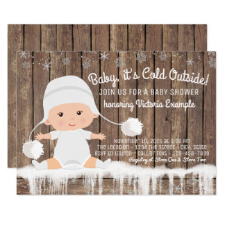 "Rustic Snowflake Baby its Cold Outside Baby Shower 4.5"" X 6.25"" Invitation Card"