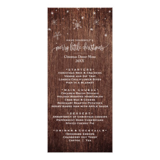 Rustic Snowflake Christmas Dinner Menu Card