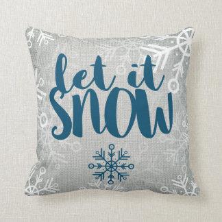 Rustic Snowflakes on White Burlap | Let It Snow Throw Pillow
