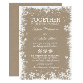 Rustic Snowflakes Winter Wedding Invitations