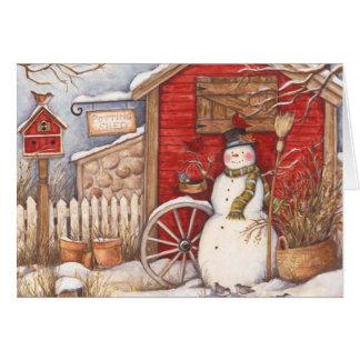 Rustic Snowman Winter Scene Card