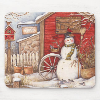 Rustic Snowman Winter Scene Mouse Pad