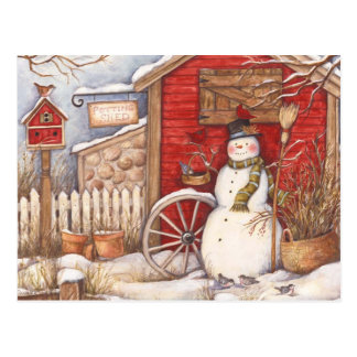 Rustic Snowman Winter Scene Postcard