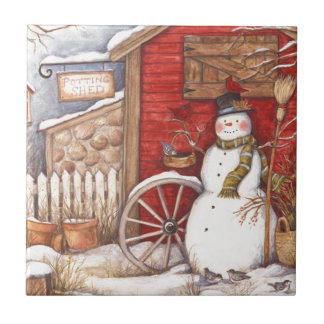 Rustic Snowman Winter Scene Tile