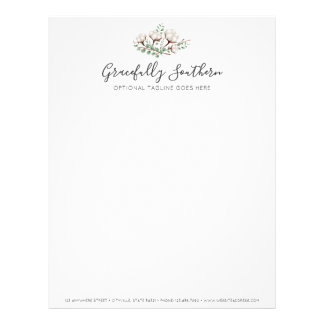 Rustic Southern Cotton Flowers Green Foliage Logo Letterhead