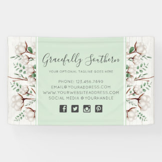 Rustic Southern Cotton Flowers on White Barn Wood Banner