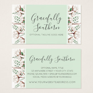 Rustic Southern Cotton Flowers on White Barn Wood Business Card