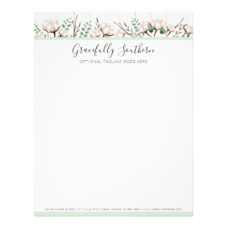 Rustic Southern Cotton Flowers on White Barn Wood Letterhead