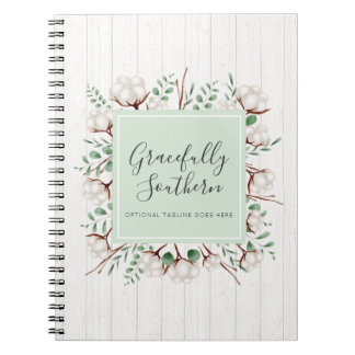 Rustic Southern Cotton Flowers on White Barn Wood Notebooks