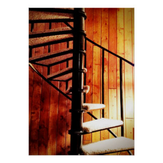 Rustic Spiral Staircase at Mountain Lodge Cabin Poster