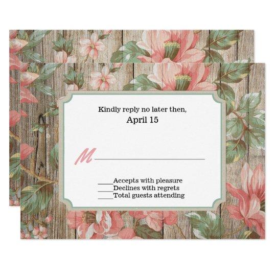 Rustic Spring Blossoms Wedding RSVP Card