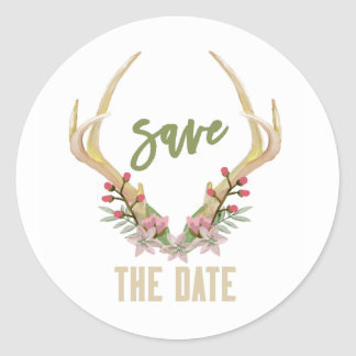 RUSTIC SPRING FLOWER | SAVE THE DATE STICKER