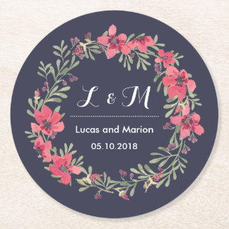 Rustic Spring Flower Wreath Monogram Wedding Party Round Paper Coaster
