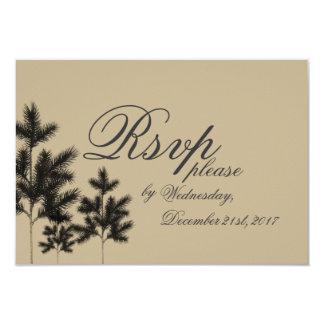 Rustic Spruce Trees Wedding RSVP Card