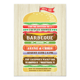 Rustic Stacked Hamburger Couples Shower BBQ Card