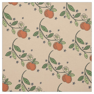 Rustic Stamped Apple Branch Tan Fabric