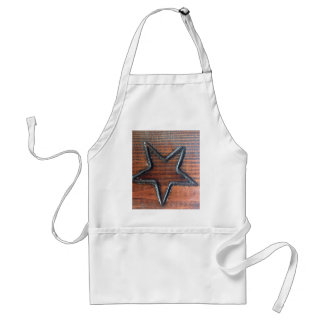 Rustic Star Burned into Wood Table Pyrography Standard Apron