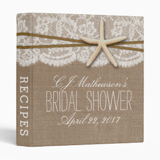 Rustic Starfish Beach Bridal Shower Recipe Vinyl Binders