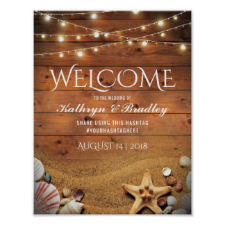 Rustic Starfish Beach Lights Tropical Wedding Poster
