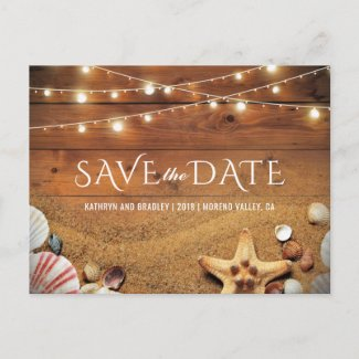 Rustic Starfish Beach Tropical Save the Date Announcement Postcard