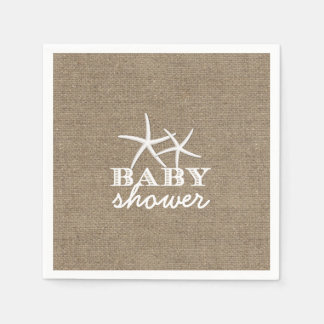 Rustic Starfish Burlap Baby Shower Disposable Napkins