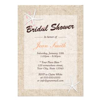 Rustic Starfish Burlap Bridal Shower Invitations