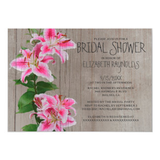 Rustic Stargazer Lily Bridal Shower Invitations