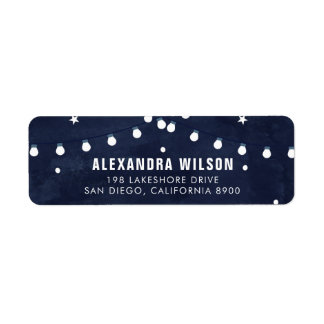 Rustic Starry Night String Lights Return Address Label