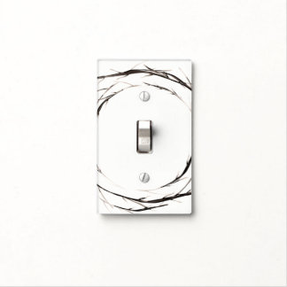 Rustic Sticks Twigs Branches Wreath White Light Switch Cover