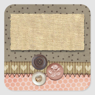 Rustic Stitched Ribbon & Buttons on Burlap Sewing Square Sticker