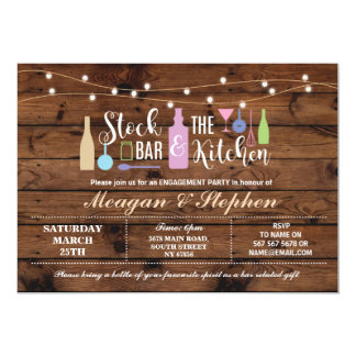 Rustic Stock The Bar & Kitchen Engagement Couples Card