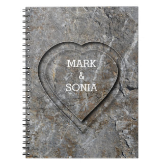 Rustic Stone Garden Wedding Heart Spiral Notebook